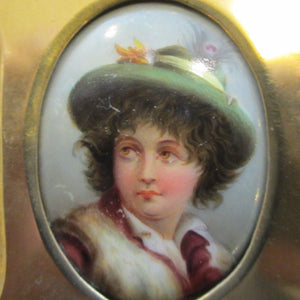Victorian Hand-Painted Portrait Plaque in Brass Frame c1890.