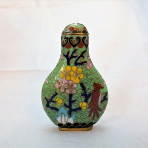 Chinese Small Cloisonne Snuff Bottle of Unusual Flattened Form Vintage