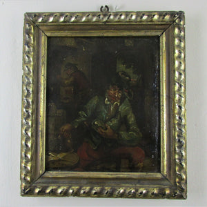 Small Dutch School Oil on Tin Painting of Men in a Tavern Antique