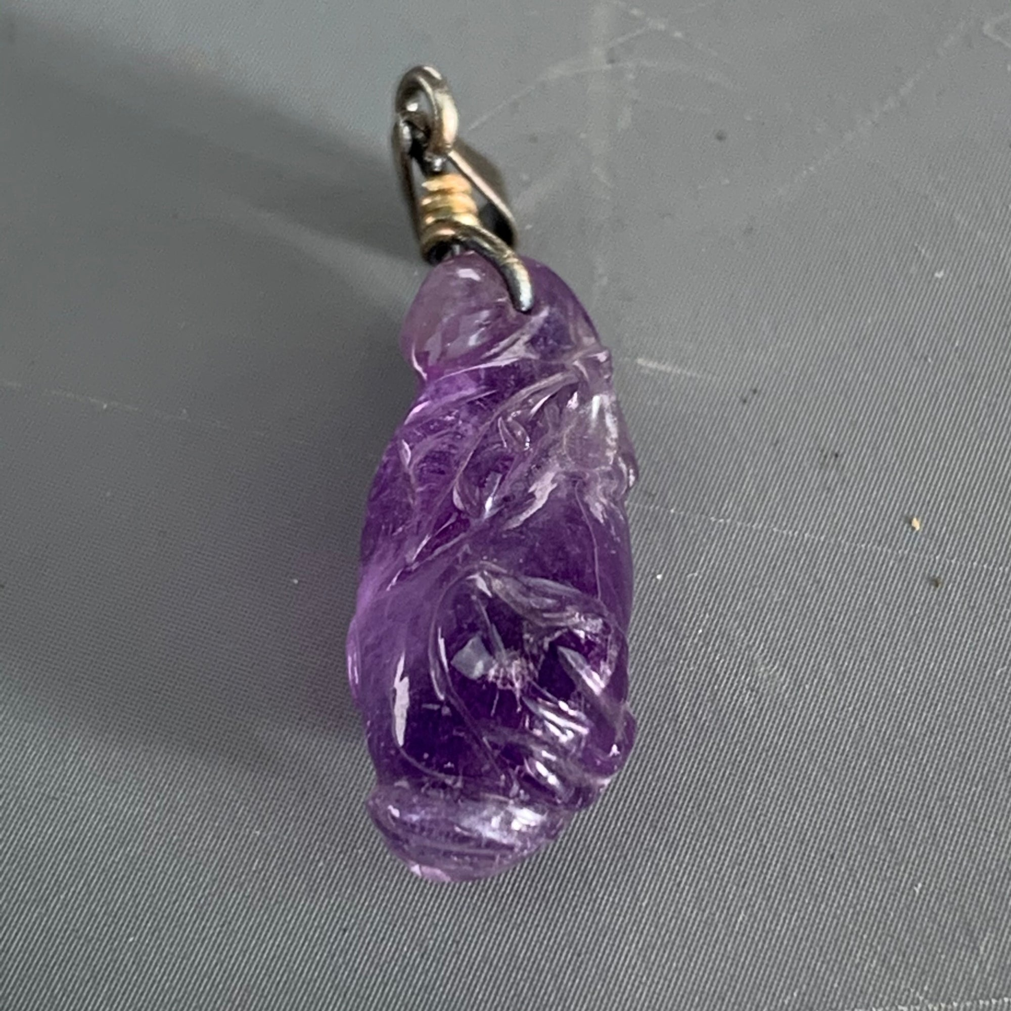Chinese Sterling Silver Pendant With Carved Amethyst Antique Victorian c1880