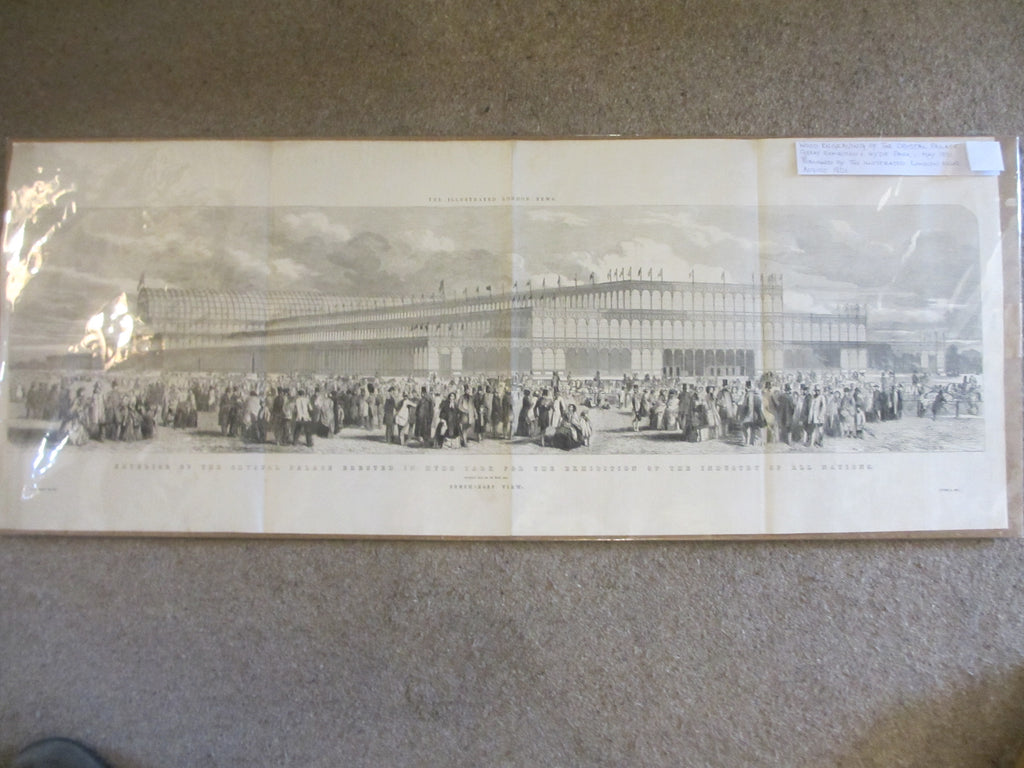 Wood Engraving of The Crystal Palace in Hyde Park antique dated 1851.