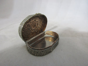 Italian White Metal Pill Box Antique c.1900.