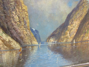 Large Oil on Canvas Painting Norwegian Fjord by H Kerner Vintage c1950