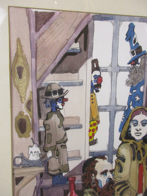 Large Ink & Watercolour 'The Puppet Maker' by A. Xapora Vintage