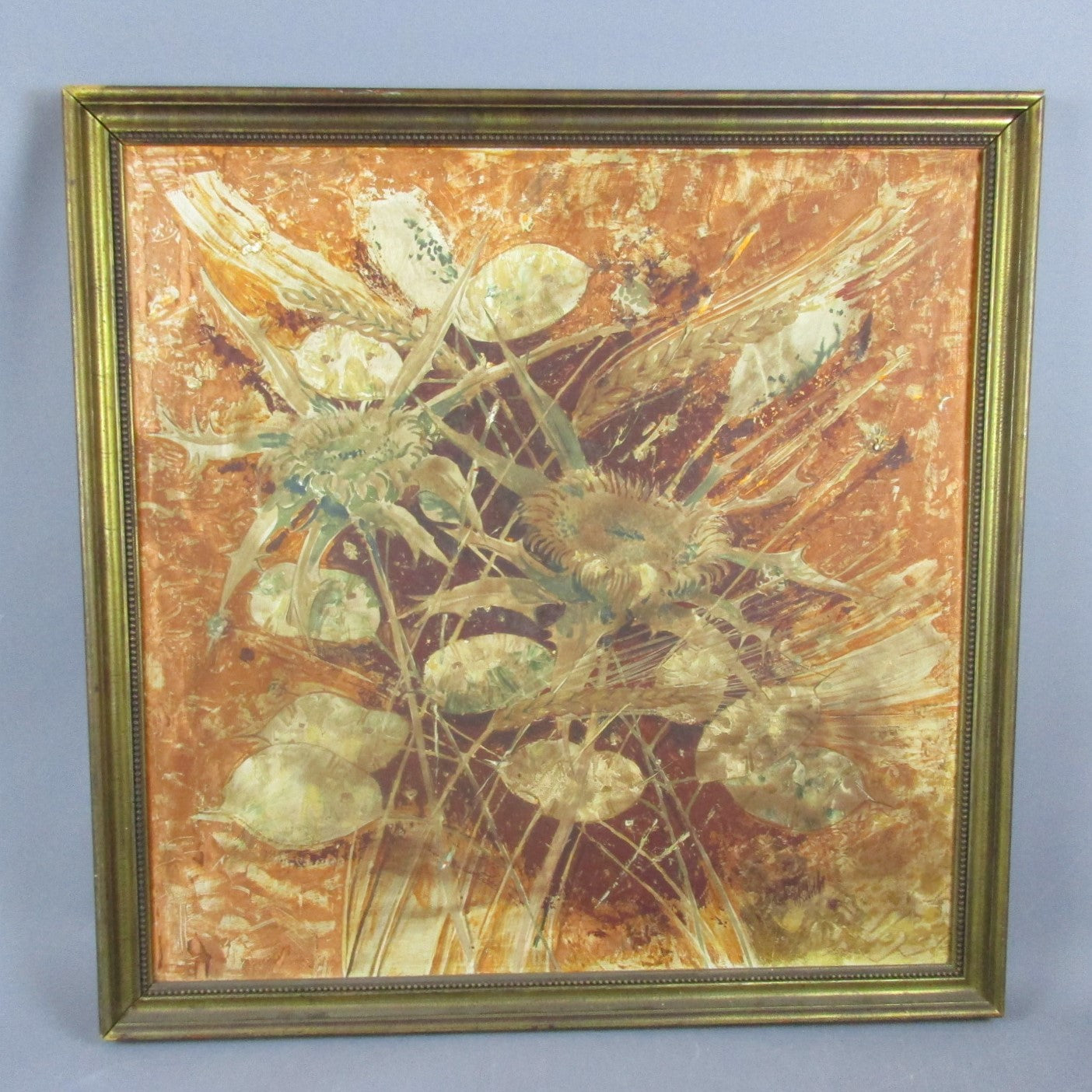 Large Oil on Board Painting Autumnal Still Life Vintage c1970