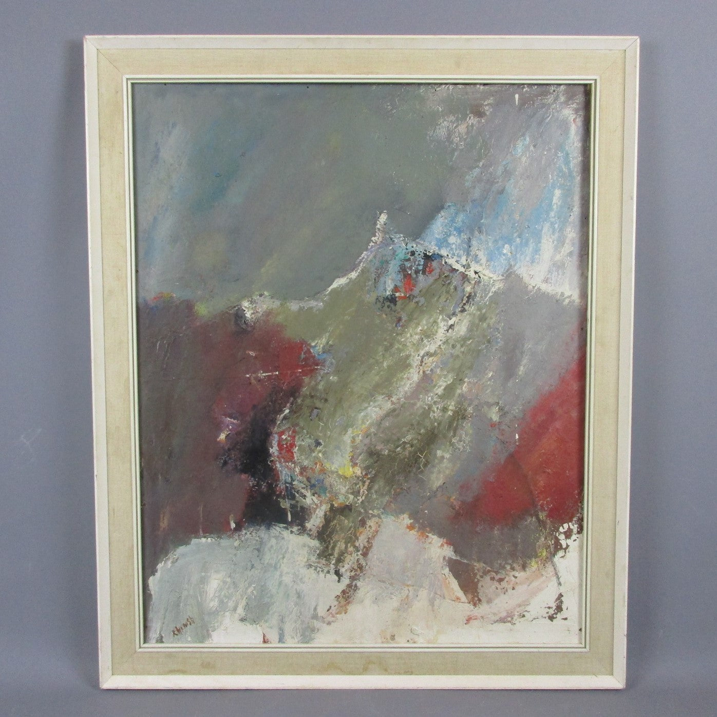Large Oil on Board Abstract Landscape Painting by R Cornish Vintage c1970