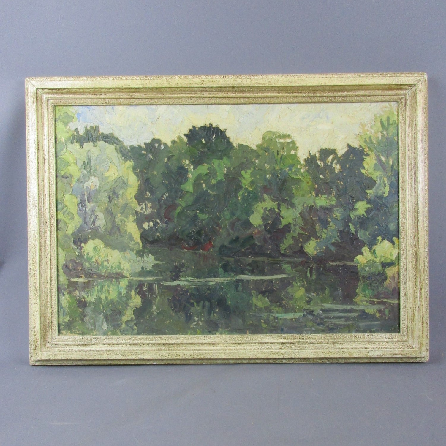 Large Oil on Canvas River Landscape by Elliot Seabrooke Vintage c1930