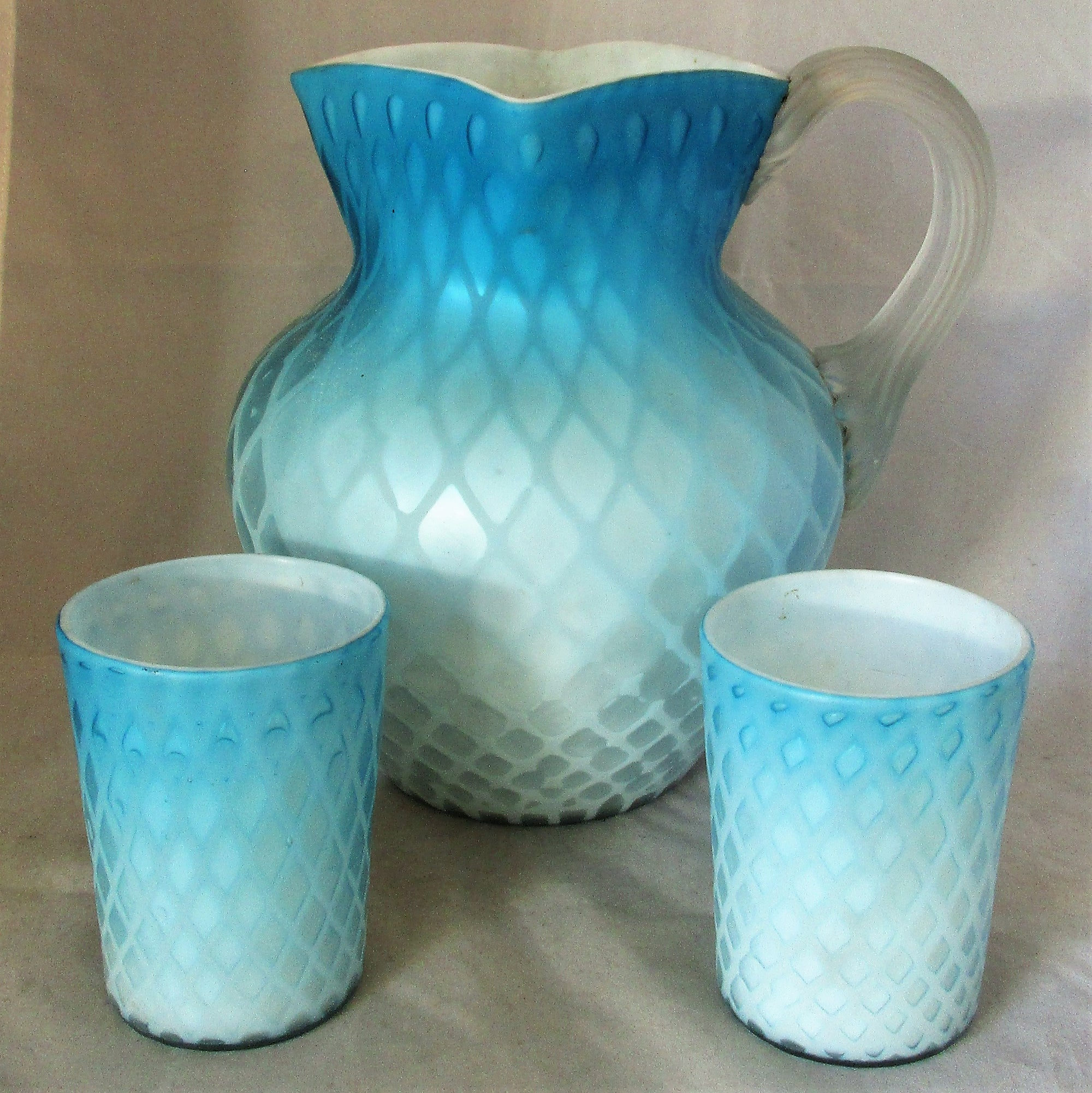 Large Satin Glass Jug and Two Tumblers Antique c1900.