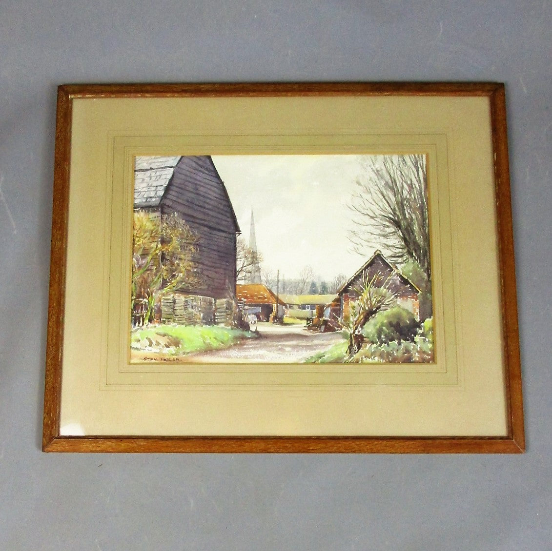 Larger Framed Watercolour of a Farm Vintage c1960