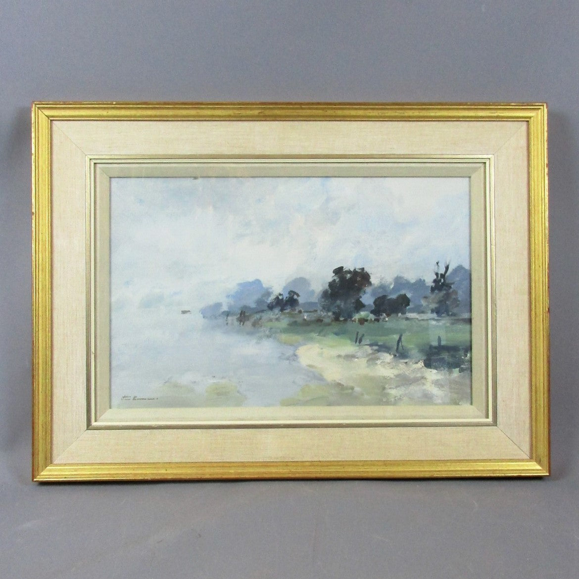 Larger Oil on Board Painting 'Cattle by the River' by J Burman Vintage