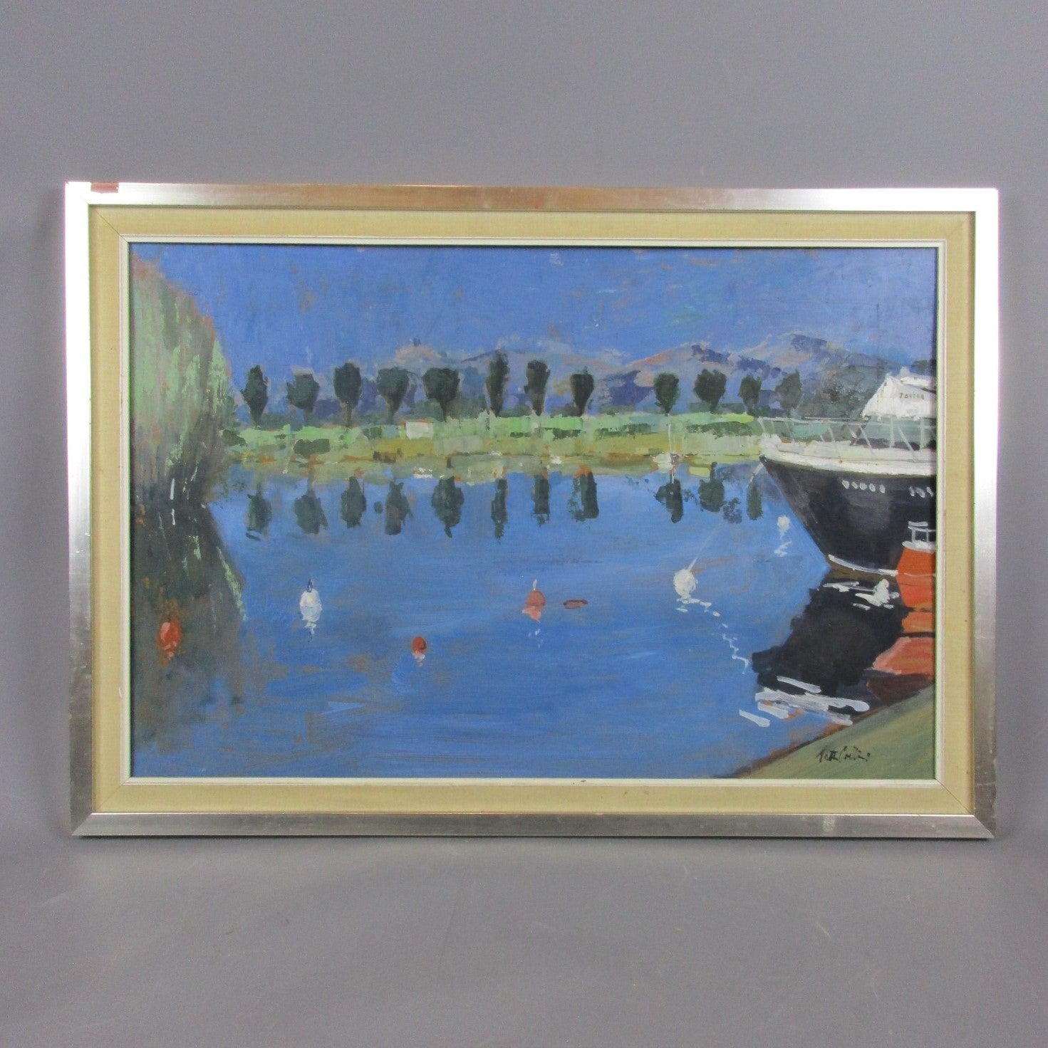 Larger Oil on Board Spanish Boating Scene by Peter Collins ARCA Vintage c1970