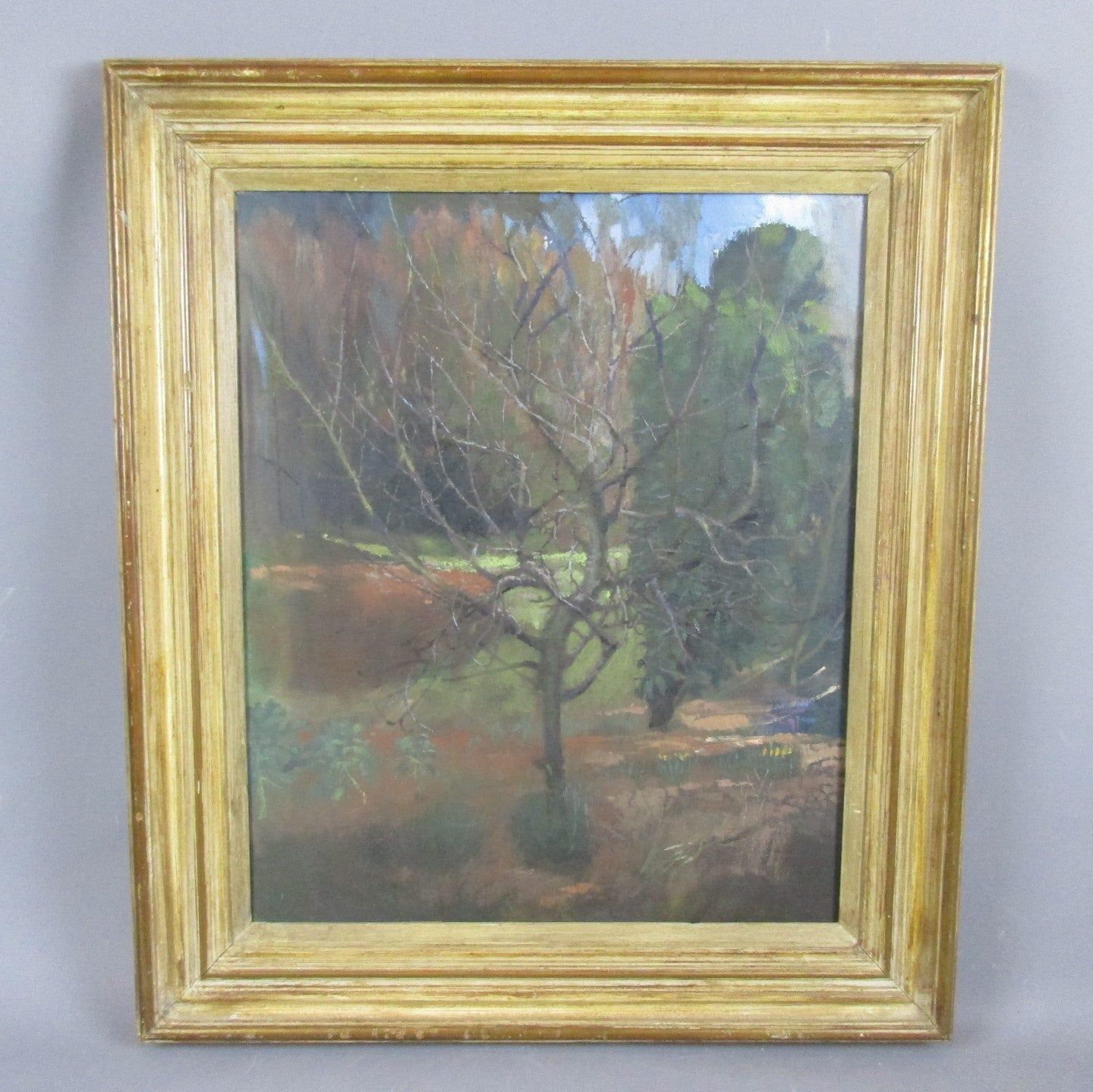 Larger Oil on Canvas Painting 'Garden in Winter' by T Pilcher Vintage c1970