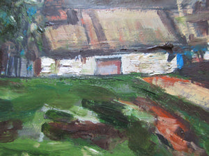 Oil On Board Of A Cottage Scene By C.J. De La Mere Vintage 20th Century.