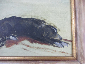 Oil On Board Study Of A Terrier By Carolyn Sergeant (1937-2018).