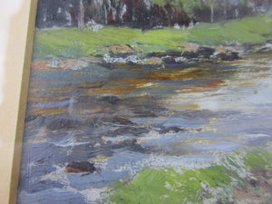 Oil On Card Of River Landscape Attributed To Samuel. L. Birch Vintage 20th Century.
