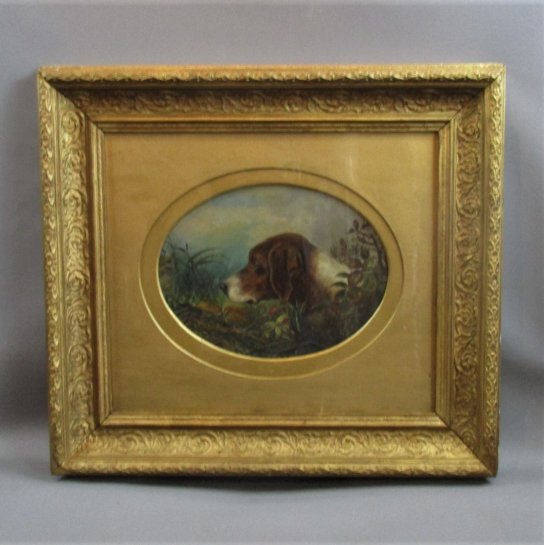 Oil on Board Portrait of a Hound Antique 19th Century