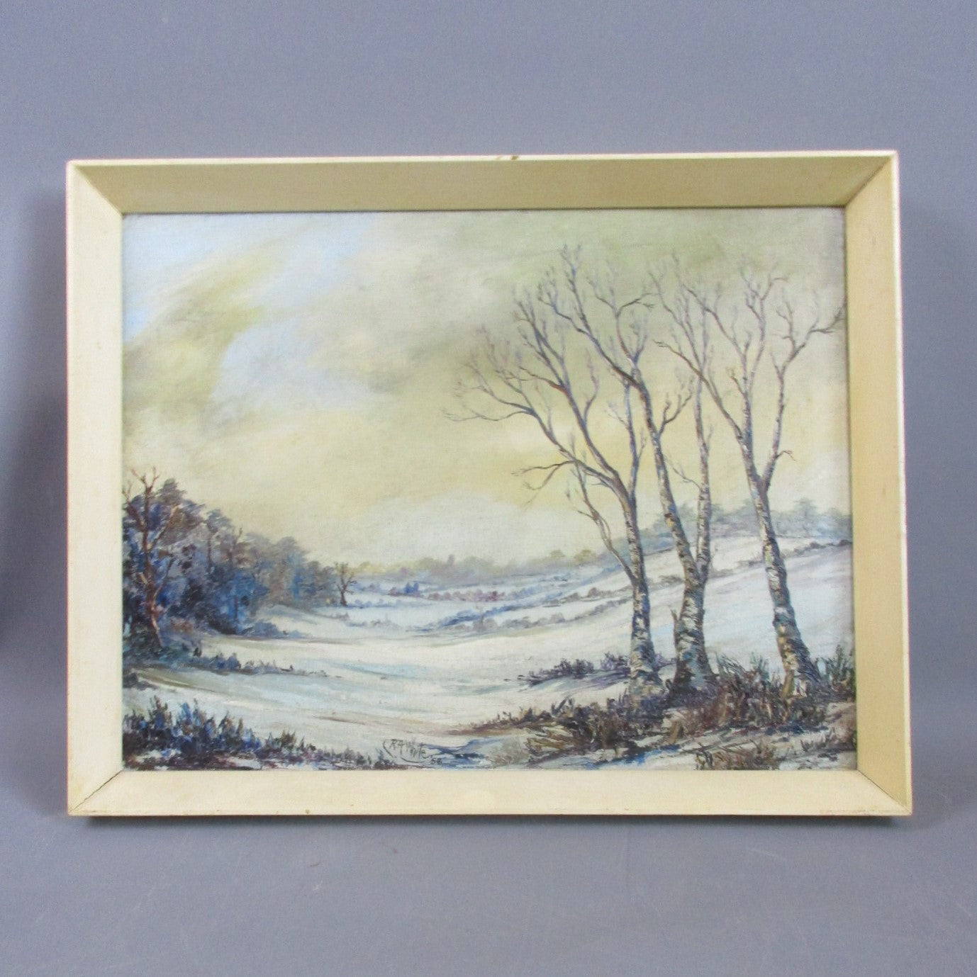 Oil on Canvas Painting Snowy Landscape by RA White Vintage c1958