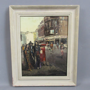 Oil on Canvas Painting 'Trendy Chelsea'  by Eve Montgomery Vintage c1970