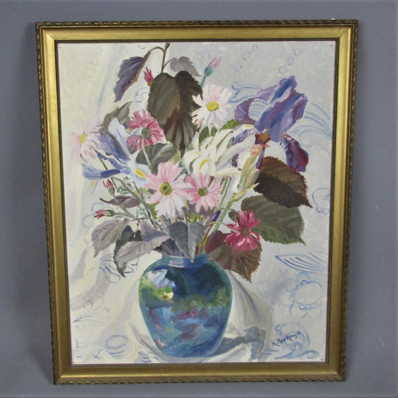 Oil on Canvas Still Life Painting of Flowers K MacKenzie Vintage c1960