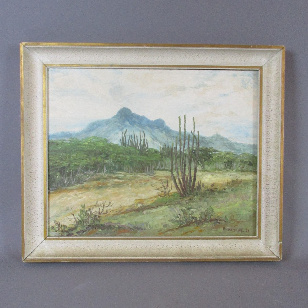 Oil on Canvas Venezuela Landscape Painting Vintage c1971