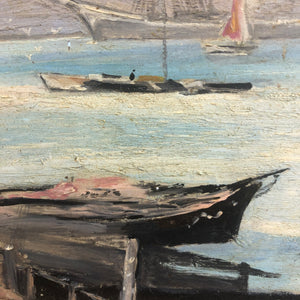 Oil On Board Quay And Harbour Vintage C1970