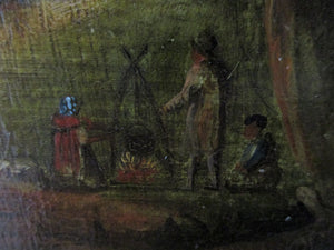 Oil on Board Landscape and People around a Campfire Antique Victorian.