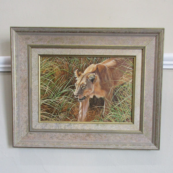 Oil on Board of Lioness by I.Spillman Photorealism Contemporary c2006.