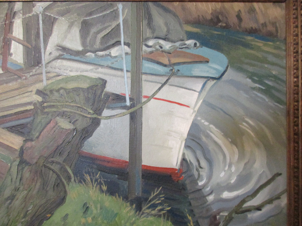 Oil on Board of Moored Boat & Riverbank by WE Wisdish Vintage c1960s.