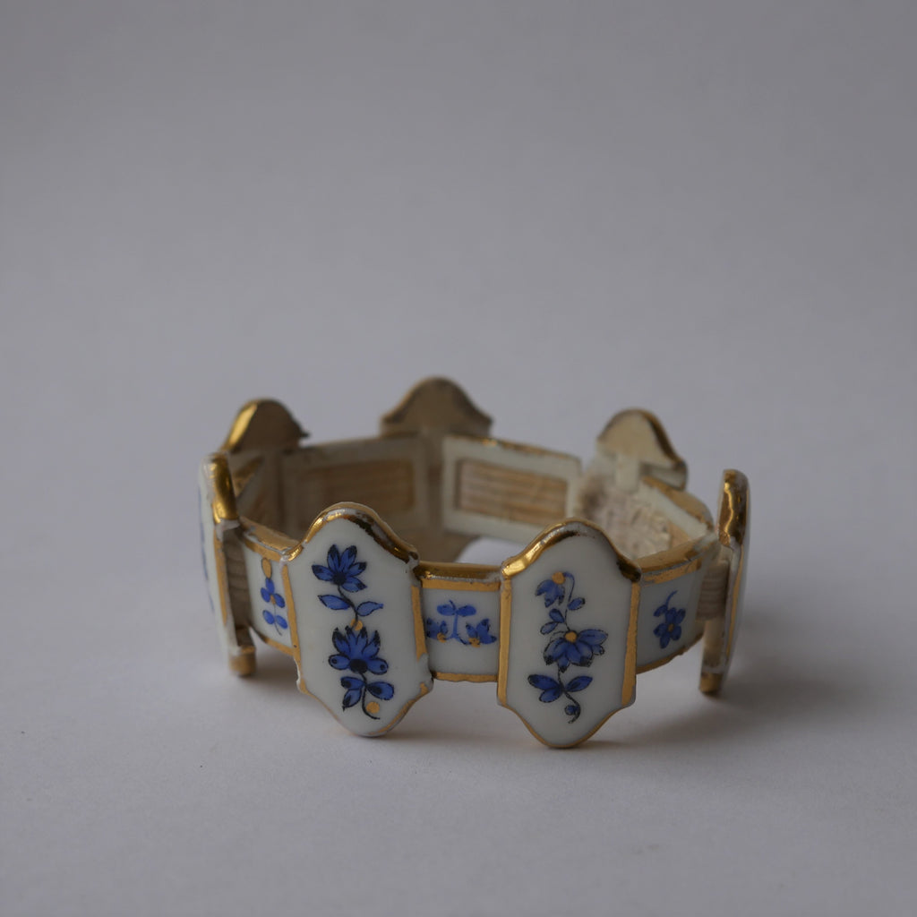 Hand Painted Dresden China Bracelet in Original Box Vintage
