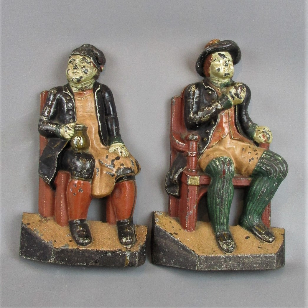 Pair Cast Iron Drinking Figure Door Stops Original Paint Antique c1900