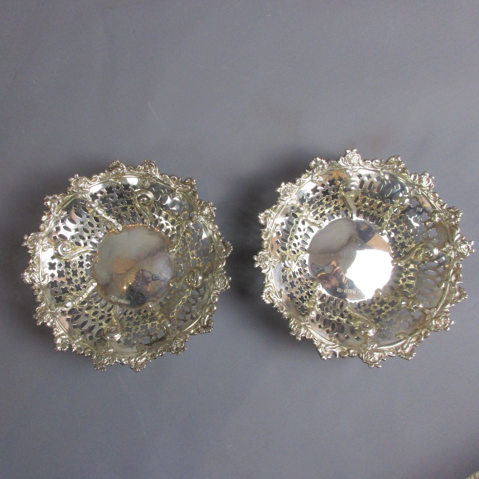 Pair Of Sterling Silver Bon Bon Dishes Antique Edwardian Sheffield 1906