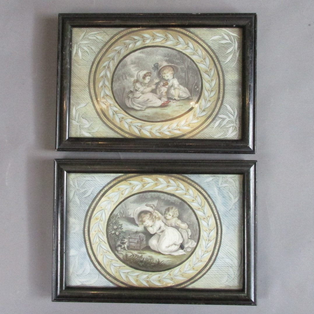 Pair Small Framed Watercolour Pictures attrib Marshall Craig (1788-1827) Antique