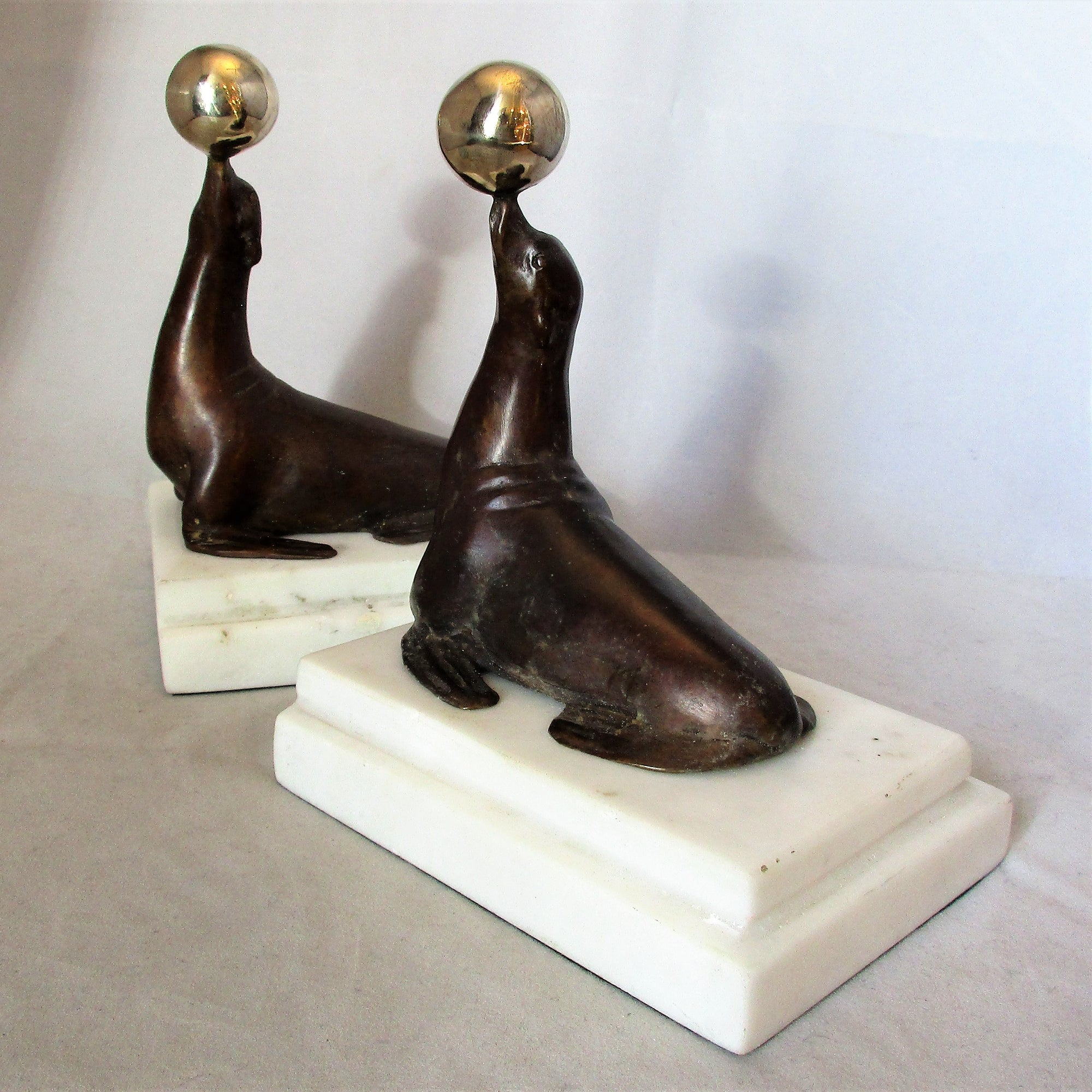 Pair of Bronze & Marble Performing Seal Book Ends Contemporary.