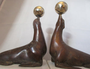 Pair of Bronze & Marble Performing Seal Book Ends.