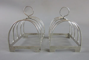 Pair of Small Sterling Silver Toast Racks Birmingham Vintage Art Deco c1936