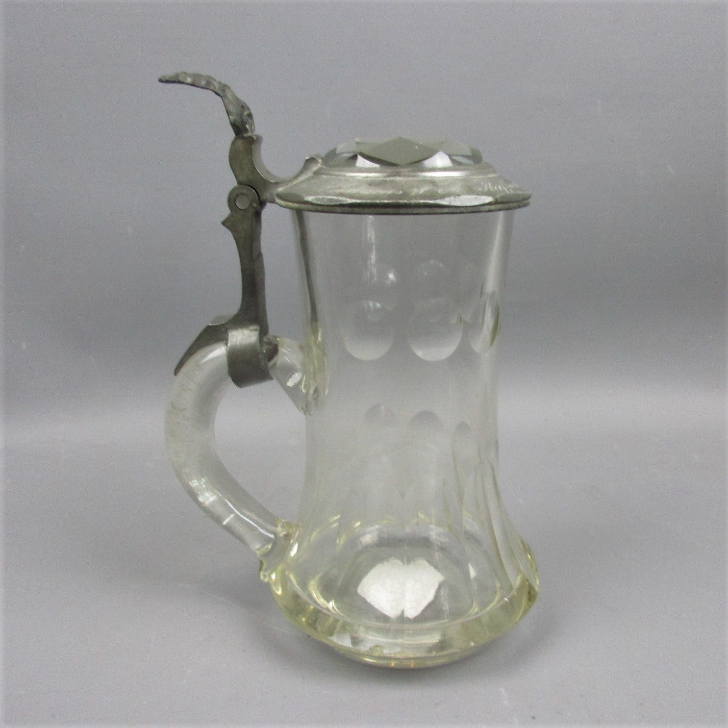 Pewter Lidded Cut Glass Tankard Antique Victorian c1876