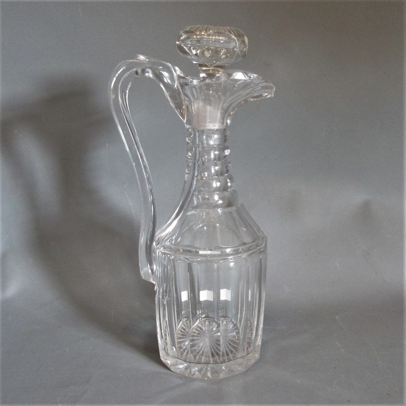 Pillar & Slice Cut Glass Claret Jug Antique c1830