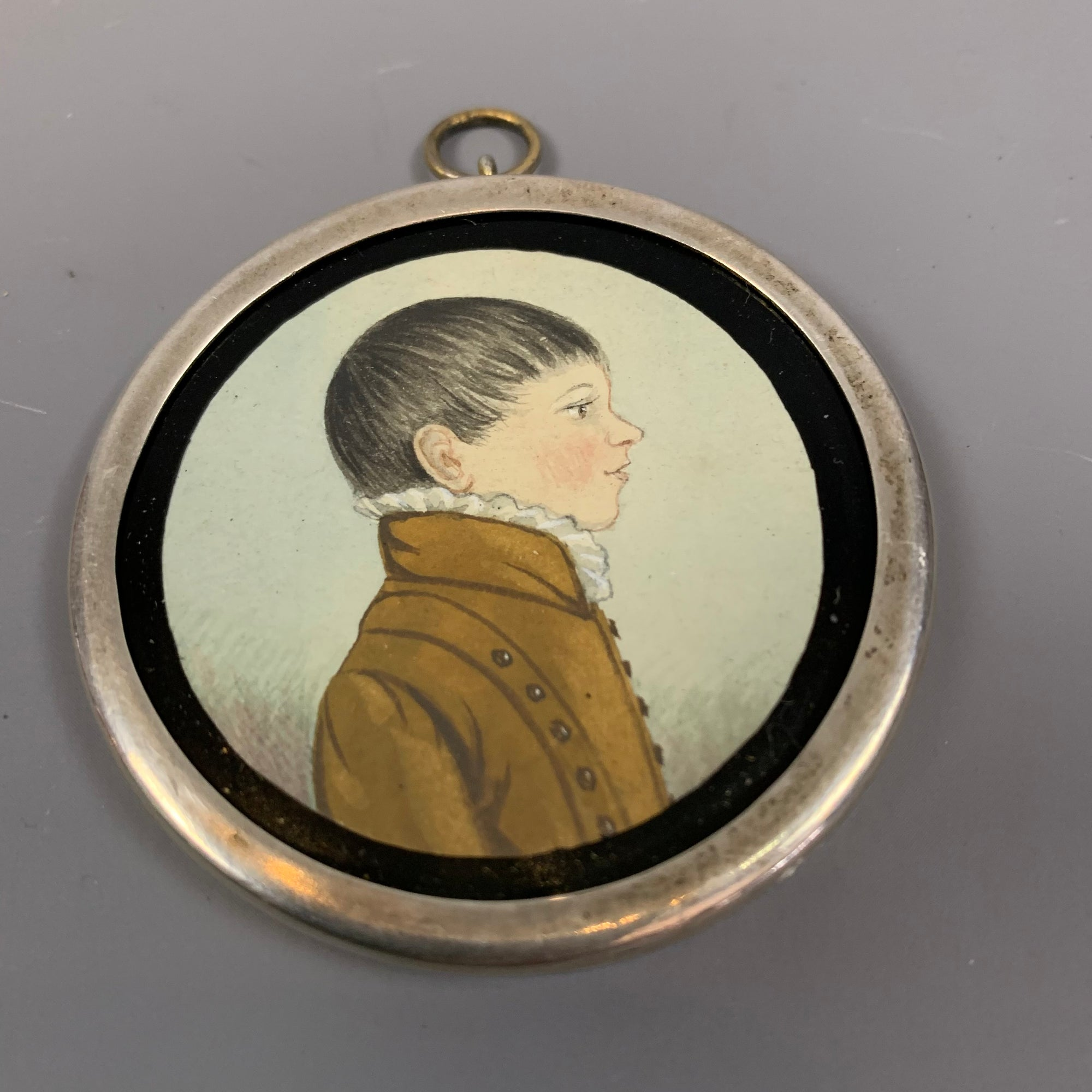 Round Metal Framed Watercolour Portrait Miniature of a Boy Antique Georgian c1810