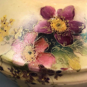 Antique Royal Worcester bottle vase cream with pink blue and lilac flowers c1900