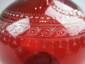 Ruby Claret Engraved Glass Jug Antique c1850s
