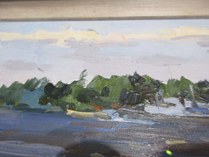 Russian Oil On Card Of River Scene By Pietr Soulimenko Vintage c.1960.