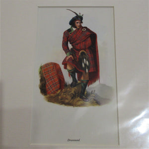 Scottish Illustration Print Drummond Clan Vintage Clan c.1959.