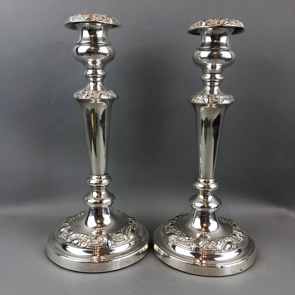 Silver Plated Pair Of Candlesticks Antique Victorian c1890