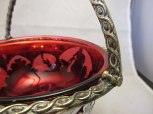 Silver Plated Sugar Basket With Cranberry Glass Liner Antique 1890.