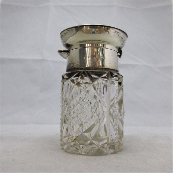 Silver Top Cut Glass Jar Vintage 20th Century.