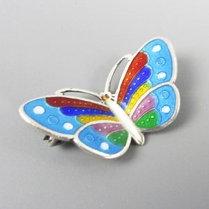 Small Silver and Enamel Butterfly Brooch Vintage