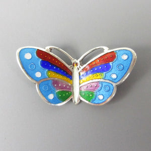 Vintage Small Silver and Enamel Butterfly Brooch