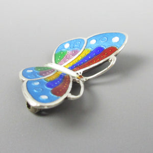 Small Silver and Enamel Butterfly Pin Vintage