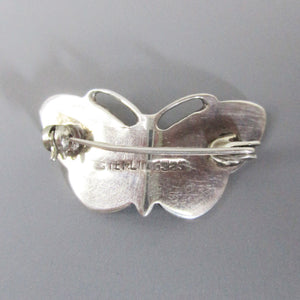 Small Silver and Enamel Butterfly Brooch Vintage Marks