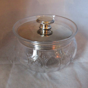Silver Lidded Cut Glass Pot Vintage c1925.